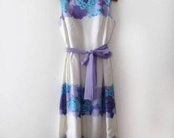 SUMMER SALE vintage 1960s Alfred Shaheen gown // 60s 70s designer floral dress with belt