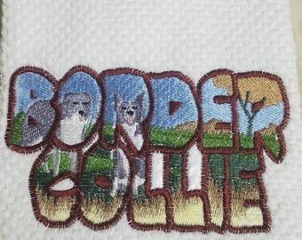 Embroidered Colorful Border Collie Scene Name panel Kitchen Towel