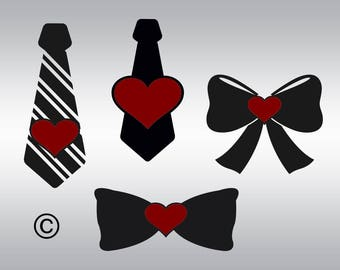 Bow tie heart SVG Clipart Cut Files Silhouette Cameo Svg for Cricut and Vinyl File cutting Digital cuts file DXF Png Pdf Eps