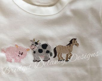 Custom crew neck short sleeved t-shirt,  infant/toddler swirly farm animals, cow, pig, horse, personalize