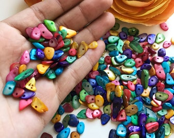 4-7mm Small Pebble Rainbow Mother of Pearl Shell beads, Colorful mini pabble beads, 100pcs Rainbow pabble beads