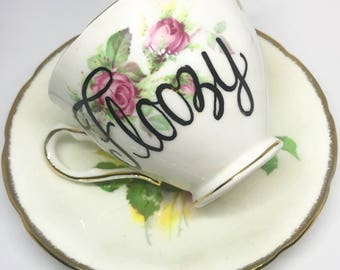 SALE! - Cheeky China, Floozy Floral Tea Cup & Saucer - Free Shipping!