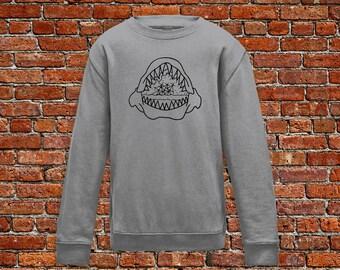 Shark sweater, shark teeth sweater, boat sweater, tattoo sweater, classic tattoo art, old school sweat, hipster gift, gift for tattoo lovers