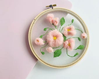 Pink Flowers Tulle Embroidery Hoop,Wall Art,Home Decor,Hand Embroidery,Tulle Embroidery,Embroidery Hoop,Merino Wool,Flowers embroidery hoop