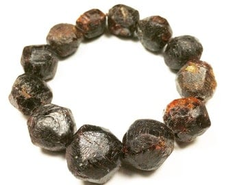Large Raw and Natural Red Garnet Faceted Nugget Beads