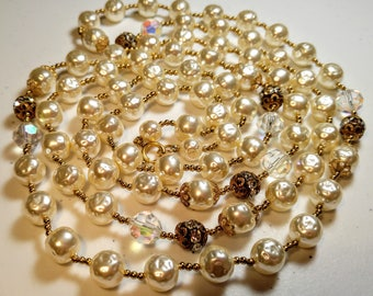 Vintage Opera Length Faux Pearl Crystal Rondelle and Aurora Borealis Bead Necklace