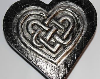 Heart Shaped Trinket Box With Pewter Embossed Celtic Knot