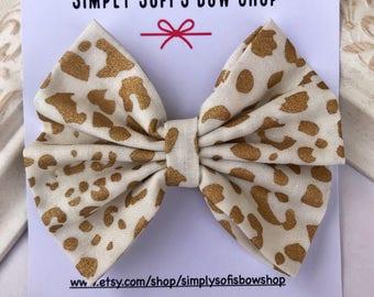 Cheetah print hair bow, cheetah print headband, fabric hair bow, fabric headband