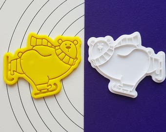 Polar Bear Skating Cookie Cutter and Stamp