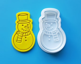 Snowman wearing Top Hat Cookie Cutter and Stamp