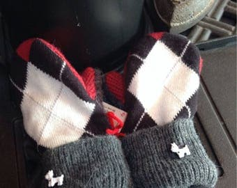Cute Argyle sweater mittens with Westie doggy buttons , childs