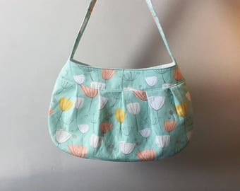 Pleated Fabric Purse, Large - buttercup bag, cotton, handbag, floral design, blue