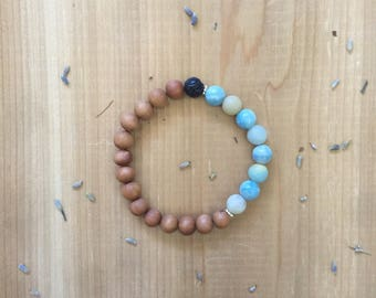 Essential Oil Diffuser Bracelet | Lava Bead Bracelets for Essential Oils| Amazonite Beads | Natural Black Lava Rock Bead | Natural Untreated
