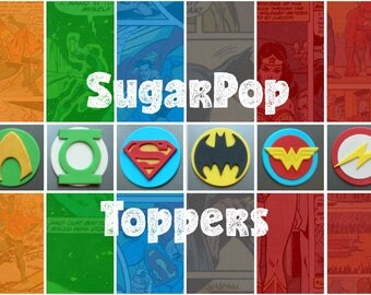 Edible Fondant Justice League Cupcake Toppers (Justice League party, Super Hero party, Batman birthday, Superman cake topper, Wonder Woman)