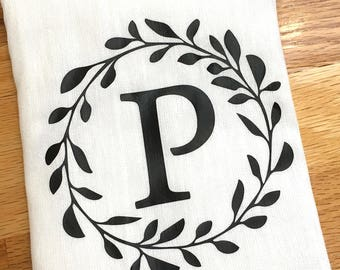 Monogrammed Kitchen Towel - Personalized Towel - Black Monogram - Laurel - Custom Wedding Engagement Bridal Shower Gift - For the Couple