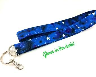 Glow In The Dark Blue Night Sky Lanyard, Shooting Stars Lanyard, Galaxy Badge Holder, Car Key Holder, ID Badge Clasp