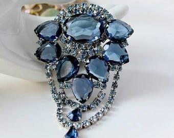 SALE Vintage JULIANA Blue Rhinestone Brooch Statement Jewelry