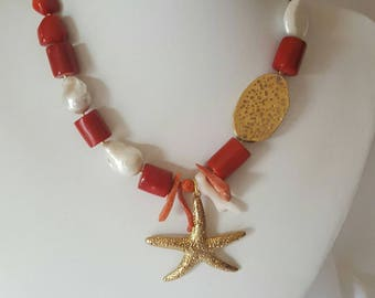 Coral and perals necklace