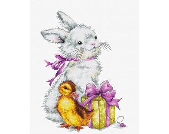 Counted cross stitch kit santa with the puppy christmas home rabbit with chicken easter card counted cross stitch kit lucas counted cross stitch kits easter gift negle Gallery