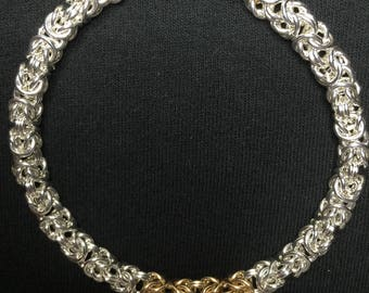 Double Center Gold Weave Byzantine Weave Chainmaille Bracelet 4th of July Special Offer