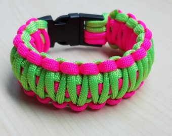 Neon green & pink paracord bracelet with buckle, king cobra bracelet, pink bracelet, survival paracord, birthday gift, neon jewelry