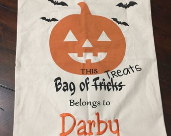 Halloween trick or treat bags! Several options to choose! Embroidered Trick or Treat Bags, Halloween Tote, Personalized Trick or treat bag