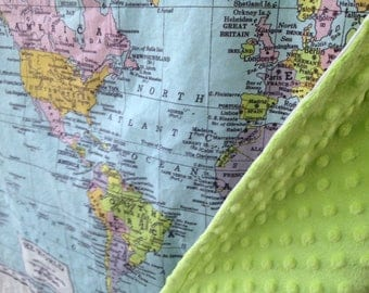 WORLD map minky baby blanket - baby cuddle quilt - or shoulder blanket, wheelchair lap blanket - 32 by 41 inches