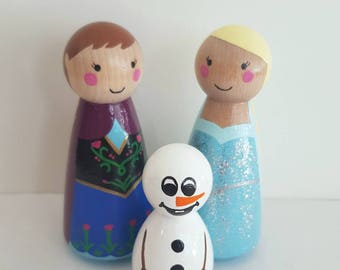 Frozen Peg Dolls - Elsa and Anna