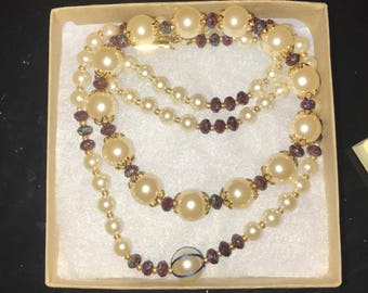 Burgundy Faceted Rondelles and Cream Colored Pearls Necklace
