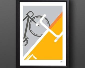 Bike Art, Abstract Tour de France Print - LEADER