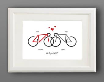 Bike lovers print, Valentines day cycling print, Personalised bike print, Bike lovers gift, Cycling print, Custom made, Cycling gift