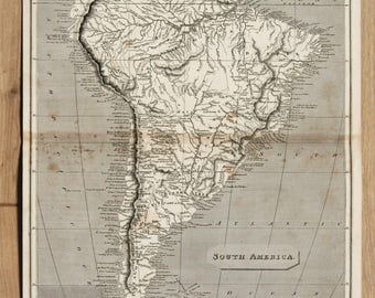 Antique Map of South America, Continent, 1809 Black and White Engraving by Arrowsmith & Russell