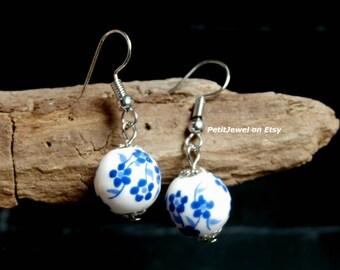 White and Blue Porcelain Dangle Earrings, Elegant, Minimalist , Minimal jewelry, Everyday earrings, Gift for her