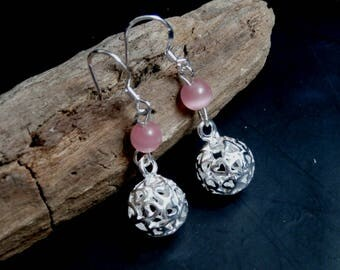 Pink Silver Round Filigree Ball Hook Earrings, Dangle Earrings, Pink Jewelry, Valentines Gift for her