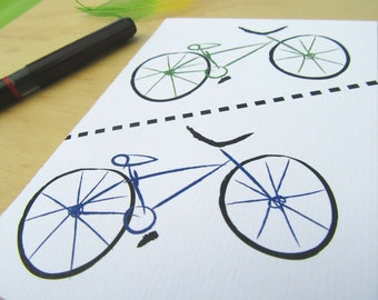 bicycle art, Gift for cyclist, Fixie card, cycling cards, cyclist art card, bike couples, bike print, bike ride, bike enthusiast, Lets ride