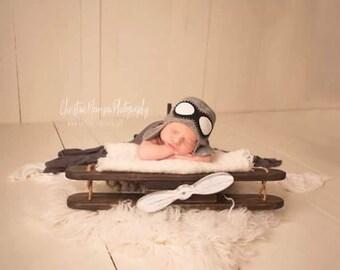 Wood Airplane Prop for Newborns in Kona Wood Stain.