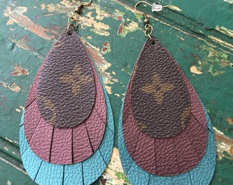 Handmade Louis Vuitton fringe earrings
