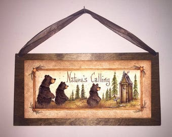 12x6 Nature's Calling Country Bathroom Sign Outhouse Bath Decor Moon Stars Bears with Choice of Upgrade w/Beads and Ribbon