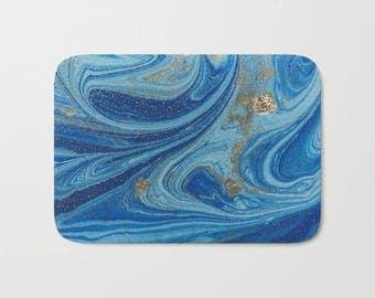 Blue Gold Abstract Bath Mat, Navy Blue Shower Mat, Blue Bathroom Decor, Blue Gold Shower Mat, Blue Watercolor Bath Mat, Navy Blue Bathroom