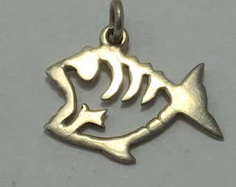 "sterling fish pendant, silver fish pendant, fish charm, salt life jewelry, fish necklace pendant, 1"" long, gift for him, gift for her"