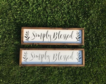 Simply Blessed sign, Blessed wood sign, blessed sign, Farmhouse sign, Farmhouse Decor, Rustic signs, Fixer upper, Gallery wall, Wood Sign