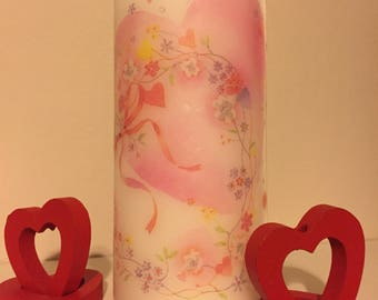 pink heart large pillar candle pillar candle gift ideas weddings valentines