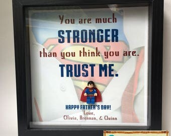 Customizable Superman Lego Shadowbox Frame. Spider-Man inspirational Quote- personalizable- Father's Day- birthday- godfather