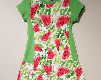 18-36 months scalable tunic dress watermelon on green leaf