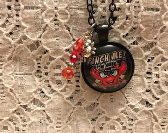 Pinch Me I'm Cute Charm Necklace/Crab Necklace/Crab Pendant/Crab Jewelry