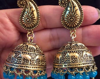 Indian jewellery traditional jhumkas with coloured beads
