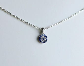 Evil Eye Necklace Sterling Silver/ Delicate Evil Eye Necklace/ Sterling Silver Evil Eye Necklace/ Dainty Evil Eye Pendant/Protection Pendant