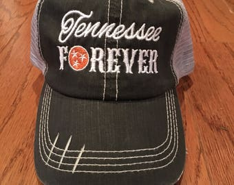 Tennessee, TN, Tri-Star, Vols, trucker hat, cap, hat, mesh, black hat, distressed