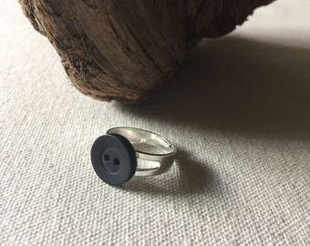 Little Black Button Ring