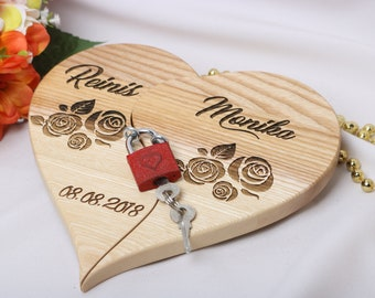 Wedding Heart, Personalized Wedding Gift, Gift For The Couple, Heart With Lock, Home Decor, Wedding Gift Idea, Wedding Accessories